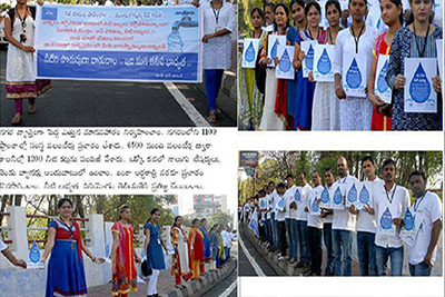Samskritians and HMWSSB team have successfully participated in human chain of solidarity and Walkathon